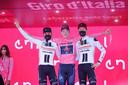 Het podium van de Giro, met v.l.n.r.: Hindley, Geoghegan Hart en Kelderman.