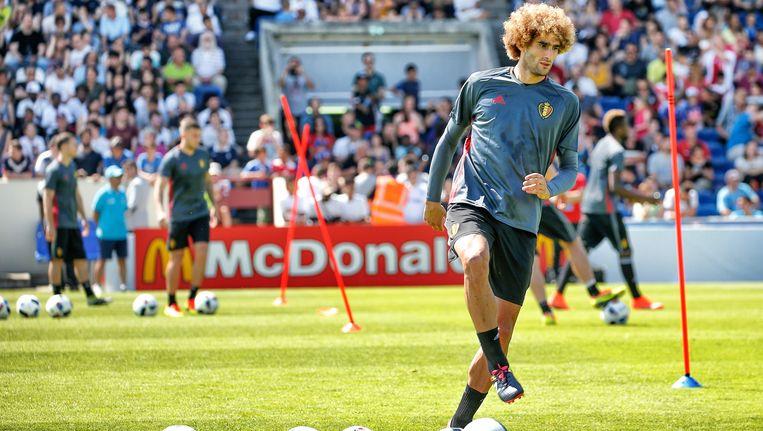 Marouane Fellaini gisteren op training in Bordeaux. Beeld BELGA