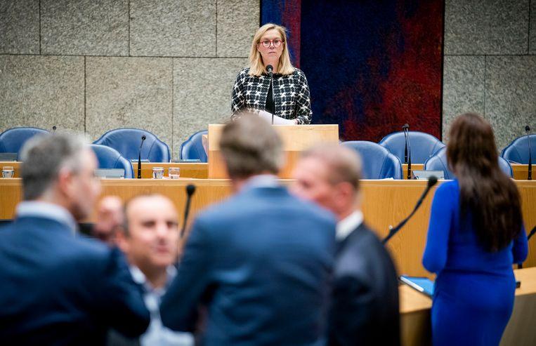 Minister Sigrid Kaag voor Buitenlandse Handel en Ontwikkelingssamenwerking (D66) tijdens het debat in de Tweede Kamer over de Economische en Handelsovereenkomst (CETA) tussen Canada en de Europese Unie en haar lidstaten.  Beeld Freek van den Bergh