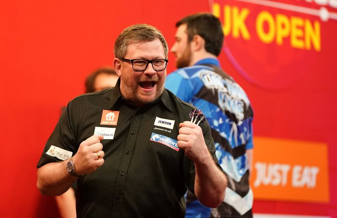 James Wade celebrates after winning the Ladbrokes UK Open 2021 tournament at the Marshall Arena, Milton Keynes during day three. Picture date: Sunday March 7, 2021. ! only BELGIUM !