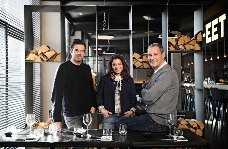 Juryleden Sergio Herman, Sepideh Sedaghatnia en Gert Verhulst. Beeld Mijn Pop-Uprestaurant 2017