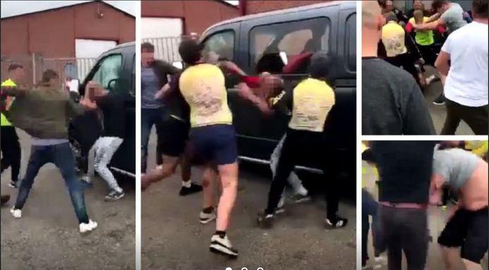 Bij de freefights waren de hooligans van Antwerp te herkennen aan hun gele T-shirts.