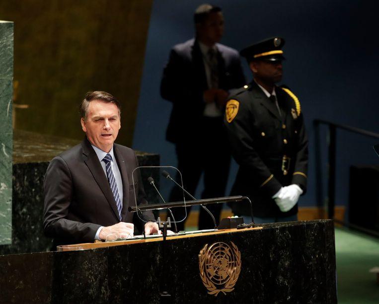 De Braziliaanse president Jair Bolsonaro tijdens zijn speech voor de AV van de Verenigde Naties. Beeld EPA