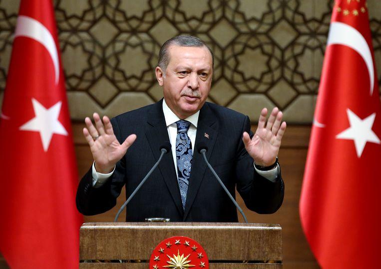 De Turkse president Recep Tayyip Erdogan. Beeld AP