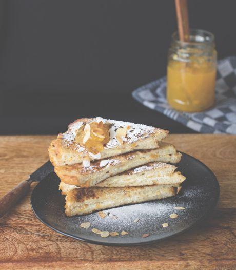 Wat Eten We Vandaag: Wentelteefjes met perzikenjam en amandelen