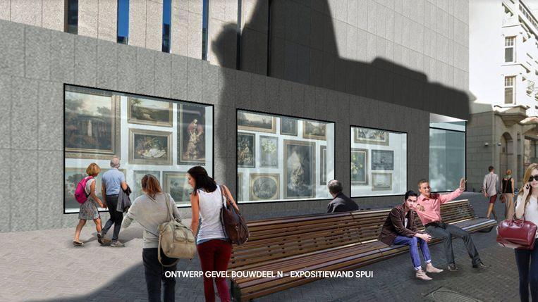 Plannen van architect Ellen van Loon: expositiewand Spui Beeld OMA
