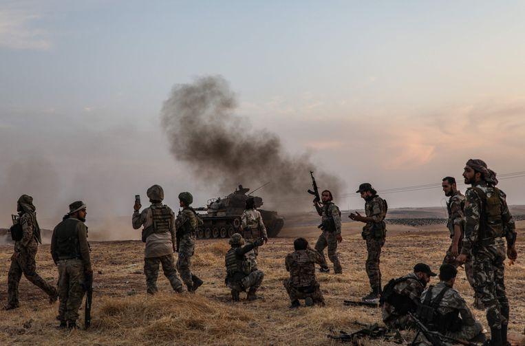 Turkse strijders in het conflictgebied in Syrië. Beeld AFP