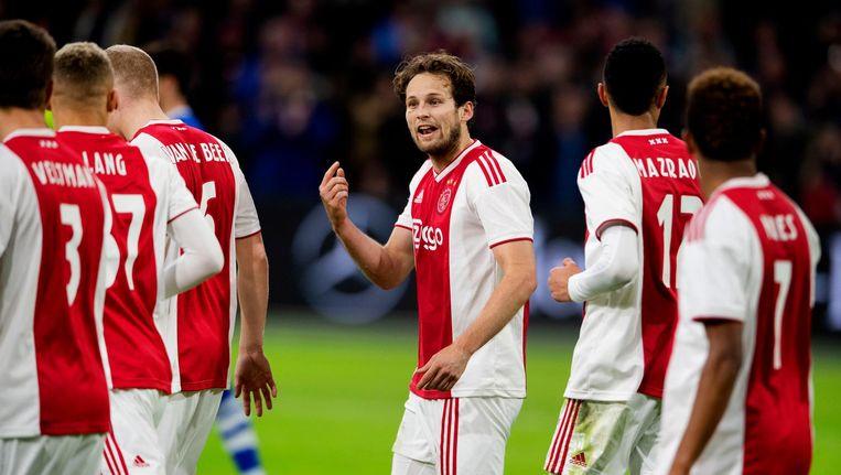 Daley Blind van Ajax heeft de 2-1 gescoord. Ajax speelt in de erevisie tegen PEC Zwolle. Beeld anp