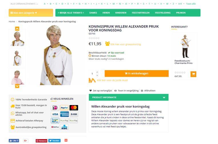 De 'gay pruik' blijkt elders een Willem-Alexanderkapsel te zijn. Beeld Website e-carnavalskleding.nl