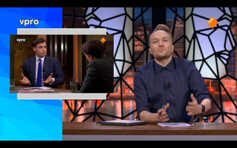 Arjen Lubach in een eerdere uitzending over uitspraken van Thierry Baudet. Beeld MB