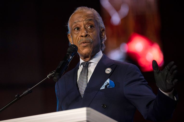 Dominee Al Sharpton tijdens zijn toespraak in de kapel van de North Central University. Beeld Getty Images