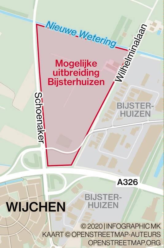 De mogelijke locatie voor de uitbreiding van bedrijventerrein Bijsterhuizen.