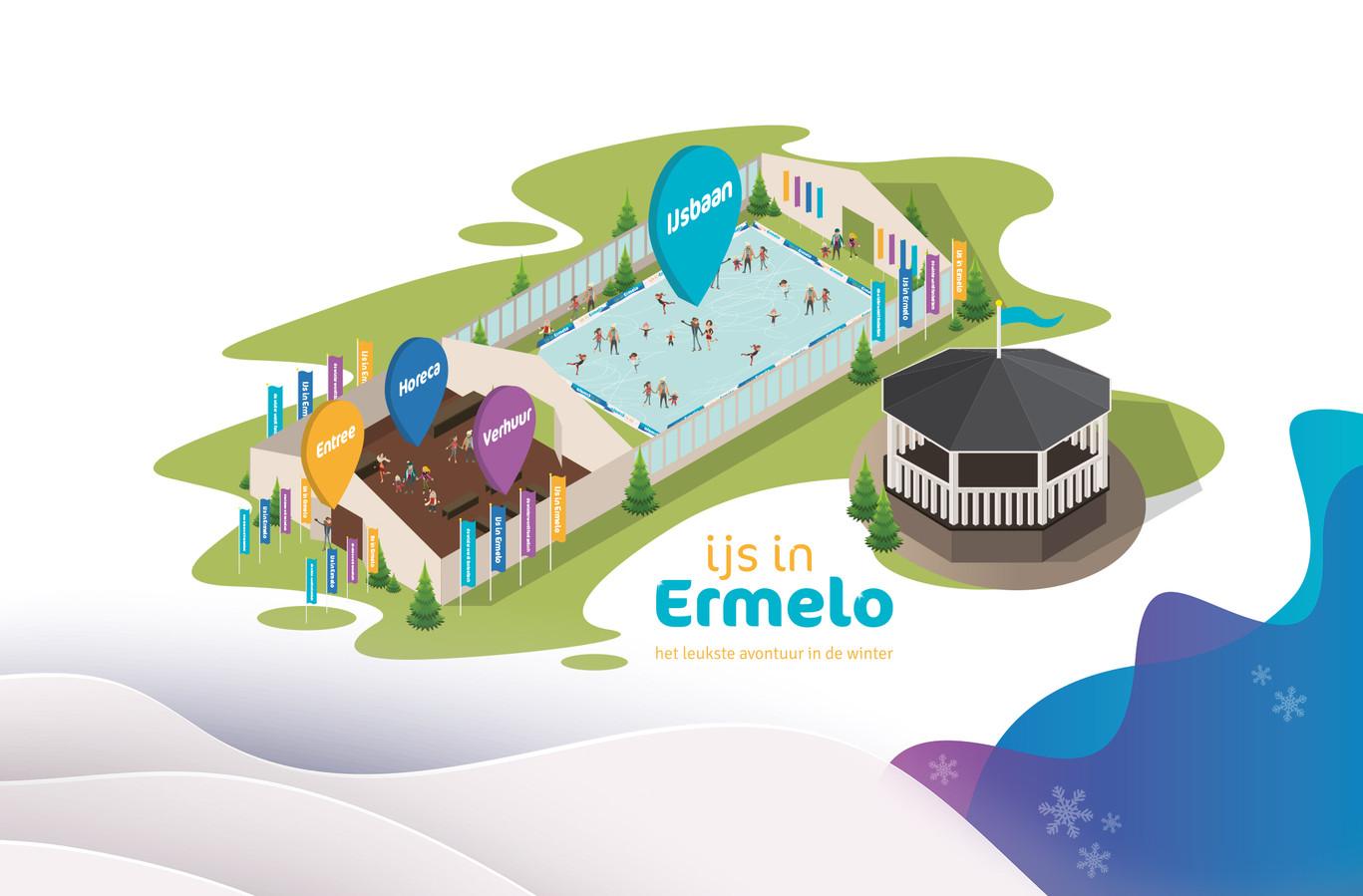 Impressie van het ijspaleisje dat komende winter op 't Weitje in Ermelo zal staan.