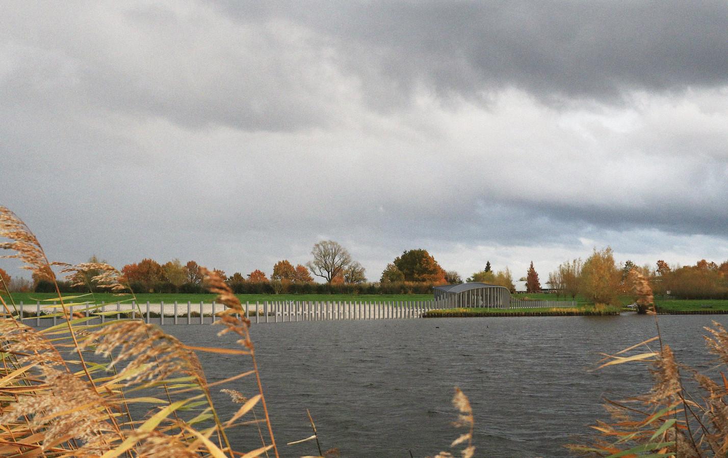 Een impressie van Paviljoen Zwemlust aan het Vollenhoverkanaal, gezien vanaf het nieuwe land.