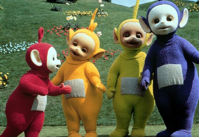 De Teletubbies Po, Laa Laa, Dipsy en Tinky Winky (van links naar rechts).