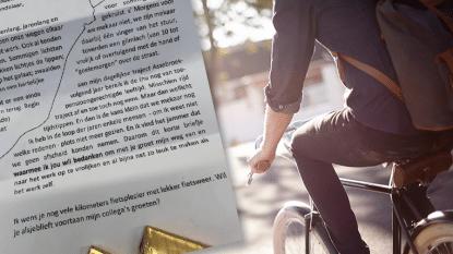 """OPROEP. """"Bedankt fietsers, voor jullie gulle lach!"""" Ken jij de man die chocolaatjes en afscheidsbrief uitdeelt tussen Zedelgem en Assebroek?"""
