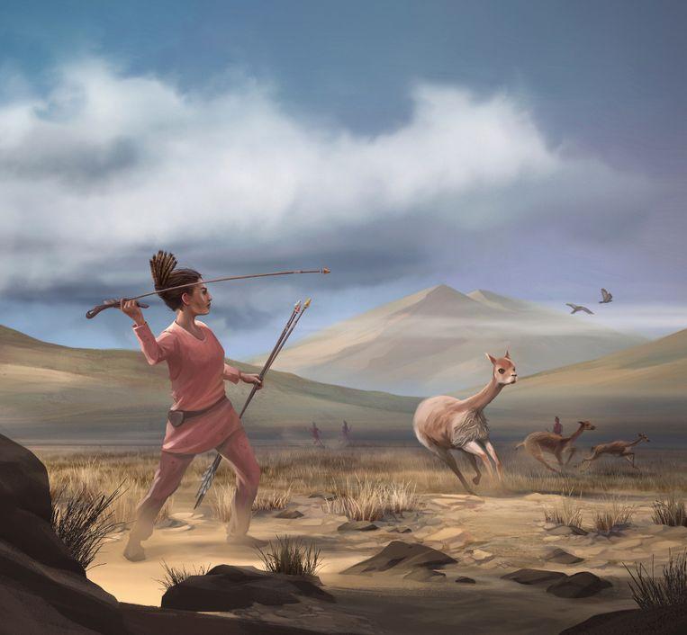Getekende impressie van een jagende vrouw, zo'n 9000 jaar geleden op de hoogvlakte van Peru. Beeld Matthew Verdolivo (UC Davis IET Academic Technology Services)