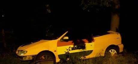 Het is weer raak in Kuitaart: auto tegen boom in voortuin na gevaarlijke botsing