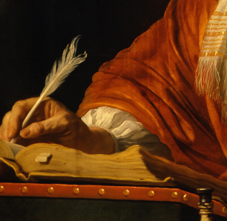 Detail uit Portret van Daniel Bernard, 1669, van Bartholomeus van der Helst. Beeld Museum Boijmans Van Beuningen