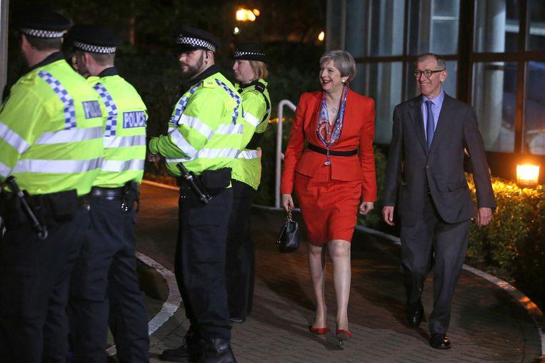 Theresa May vrijdagochtend vroeg. Beeld afp