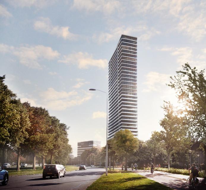 De nieuwe  toren bij de Bunker van de TU/e aan de J.F. Kennedylaan in Eindhoven.