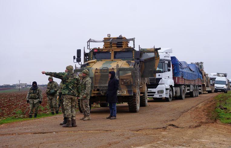 Turkse strijdkrachten in Syrische provincie Idlib. Beeld AFP