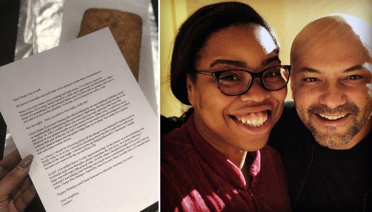 Candice Benbow en haar buurman hebben zich verzoend nadat zij hem een bijzondere brief schreef.
