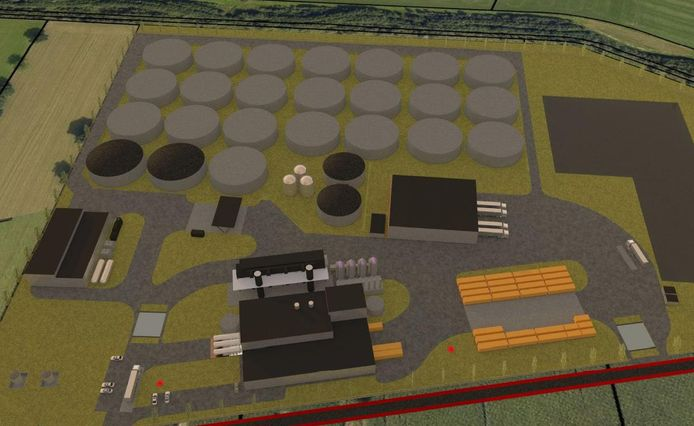Een compositietekening van de mestfabriek of bioraffinageinstallatie, zoals die op industrieterrein Laarberg bij Groenlo moet worden gebouwd.