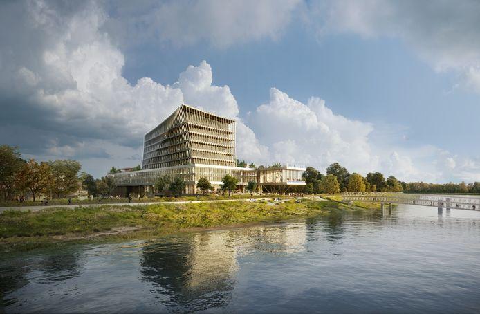 Het onthaalgebouw van 45 meter hoogte zou het eerste zijn van de Maritieme Campus Antwerpen, nog binnen de krijtlijnen van het huidige gewestelijk ruimtelijk uitvoeringsplan.