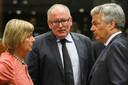 Timmermans tijdens het EU-overleg in Brussel
