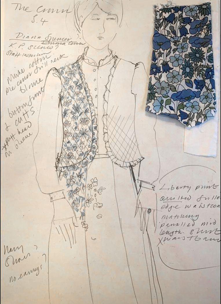 Schets voor een look van Diana in de serie. Beeld Netflix