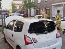 Buurman blust brandende auto met tuinslang
