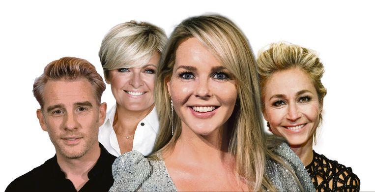 Art Rooijakkers, Caroline Tensen, Chantal Janzen en Wendy van Dijk. Beeld ANP