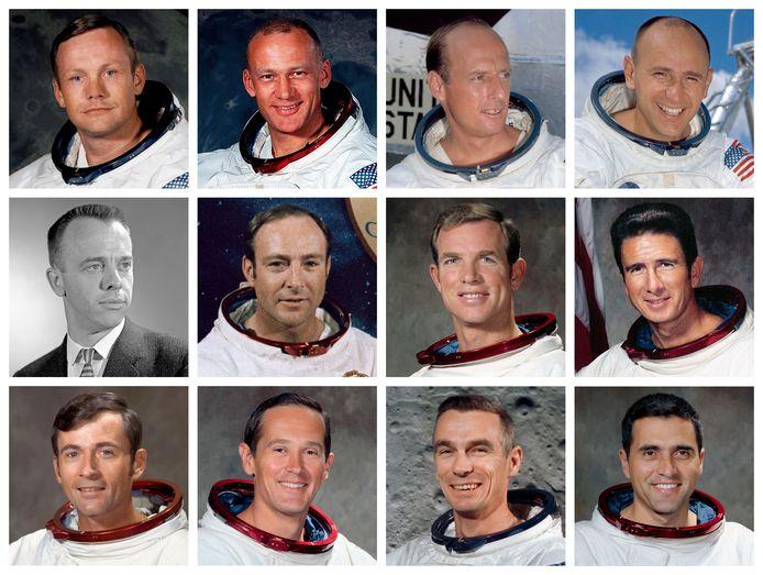 De 12 moonwalkers, met bovenste rij: Neil Armstrong, Edwin 'Buzz'  Aldrin (Apollo 11, 1969), Charles 'Pete' Conrad, Alan L. Bean (Apollo 12, 1969). Midden: Alan Shepard, Edgar D. Mitchell (Apollo 11, 1971), David SCott, James B. Irwin (Apollo 14, 1971). Onderaan: John Young, Charles Moss Duke Jr (Apollo 16, 1972) , Eugene A. Cernan en Harrison 'Jack' Schmitt (Apollo 17, 1972)