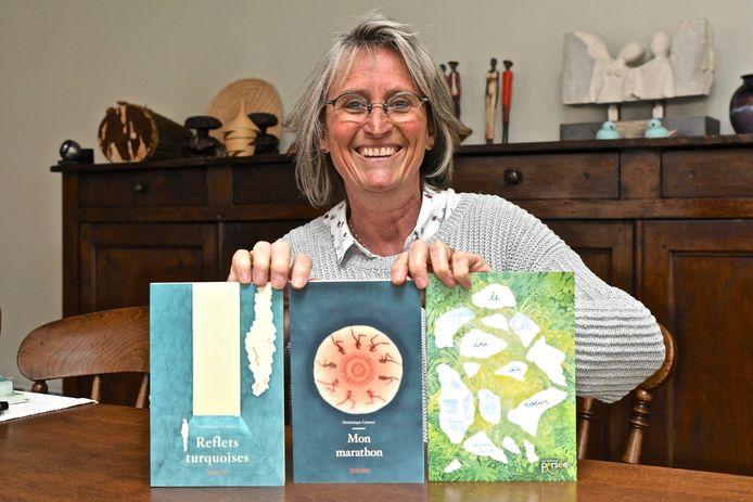 Dominique Lannoo met haar drie romans.