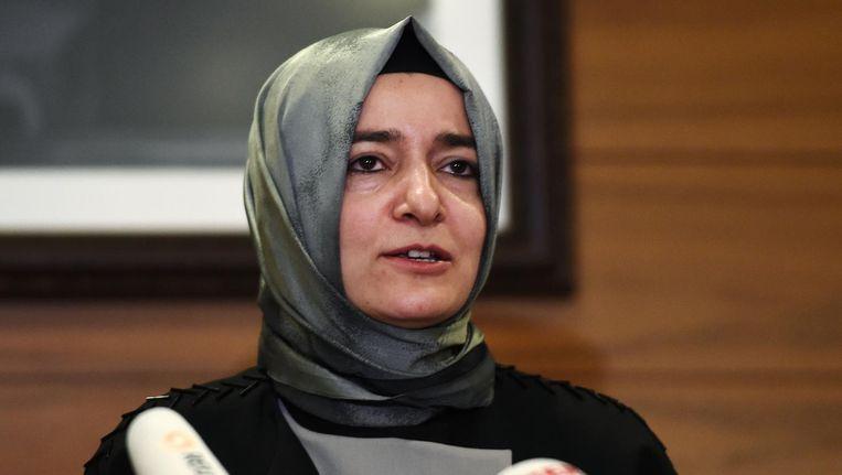 De Turkse minister Kaya van Familiezaken in Istanbul. Beeld afp