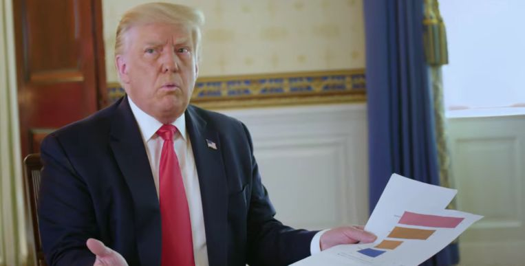 President Trump tijdens een pittig interview met de Australische journalist Jonathan Swan. Beeld axios/hbo