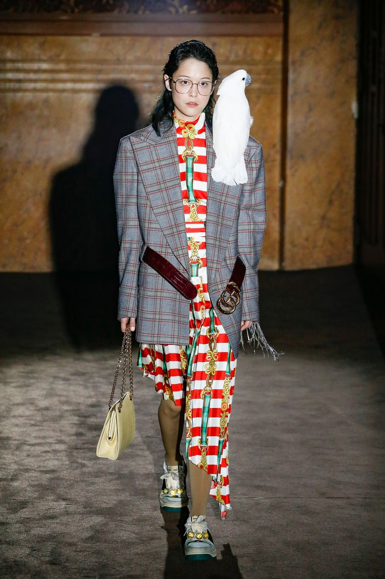Op de catwalk van de Gucci-show. Beeld