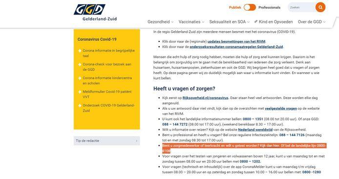 De GGD Gelderland-Zuid verwijst op haar website naar Rookwinkel.nl.