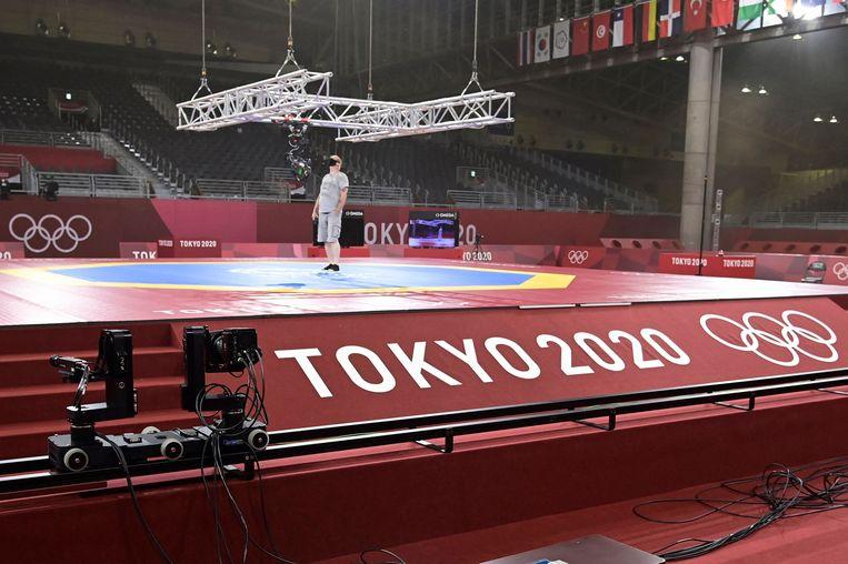 De hal waar de taekwondowedstrijden plaats zullen vinden tijdens de Olympische Spelen in Tokio. Beeld AFP