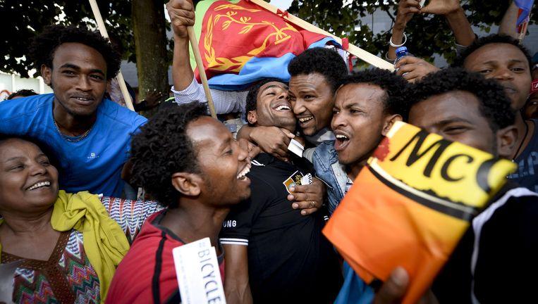 De Eritreeër Daniel Teklehaimanot is een openbaring in deze Tour. Met zijn aanvalslust en klimkwaliteiten veroverde hij als eerste Afrikaan de bergtrui. Beeld © Belga
