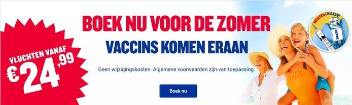 Wanneer je bent ingeënt met het coronavaccin kun je zo weer gaan vliegen, lijkt Ryanair te beloven.