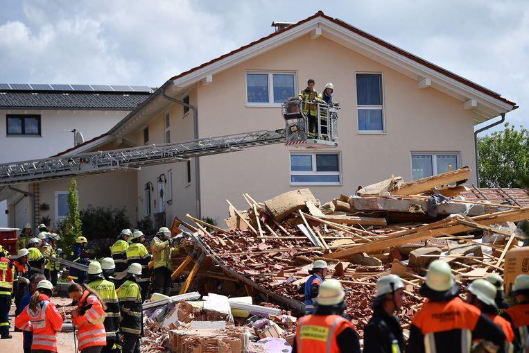 Het ingestorte huis.