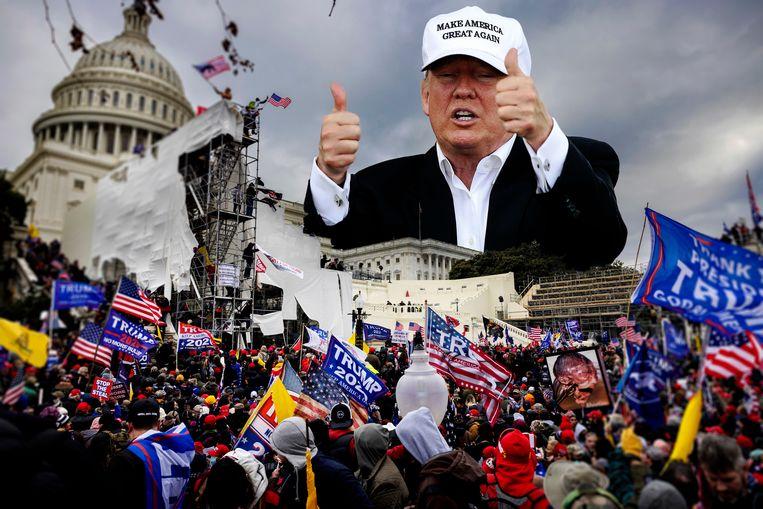 In de aanklacht staat te lezen dat 'Trumps acties het grondwettelijk systeem bedreigden dat de fundamentele vrijheden beschermt'. Beeld rv