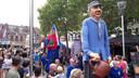 De drie reuzen van de gemeente Tilburg paraderen over de kermis van 2018 (vlnr): D'n Udenhoutse Broeder, Caecilia/Sint Willibrordus en Fraans Krèùk.
