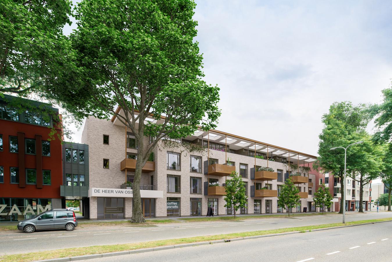 Het appartementencomplex aan de Raadhuislaan in Oss, recht tegenover het gemeentehuis gaat De Heer van Oss heten.