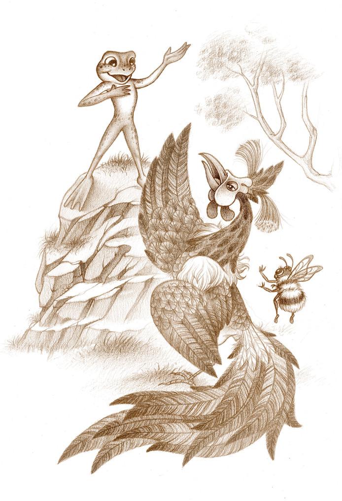 Illustratie in Wis, Wis, Sluiervis, met Snoeshaan, Aardbij en Opkikker.