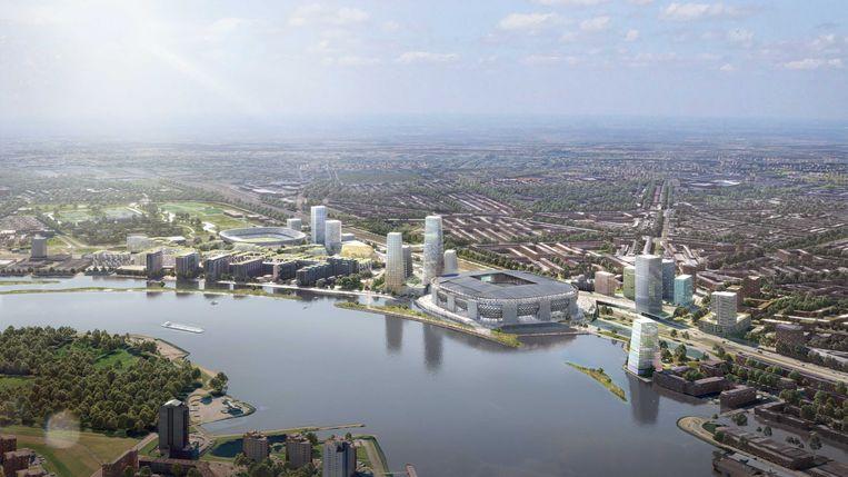 Een illustratie van de plannen voor Feyenoord City, uit 2019.  Beeld ANP
