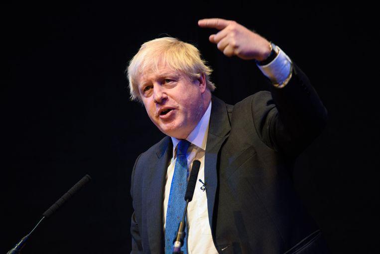 Boris Johnson tijdens zijn toespraak. Beeld Photo News