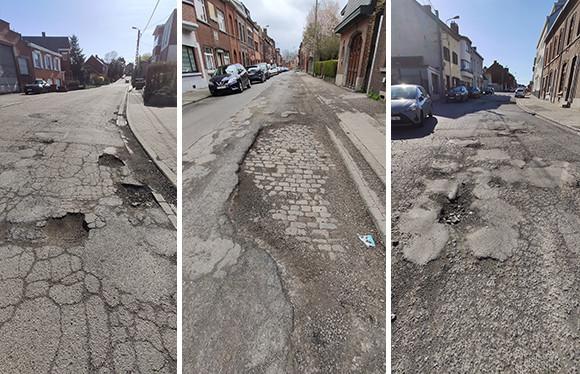 La rue des Combattants à Couillet, celle de l'Espérance à Montignies-sur-Sambre et celle des Goutteaux à Mont-sur-Marchienne (Charleroi) sont dans un sale état